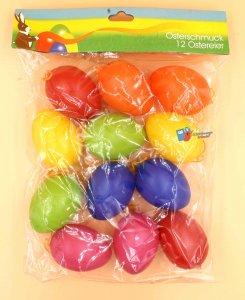 Ostereier Plastik 12 Stück Bunte Mischung