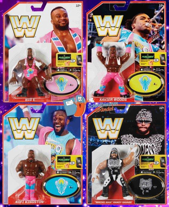 WWE Mattel Retro Serie 5 Macho Man - Big E - Kofi Kingston - Xavier Woods