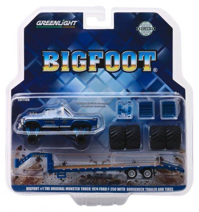 Greenlight The Original Monstertruck Bigfoot 1:64 Ford F 250 mit Trailer und Reifen