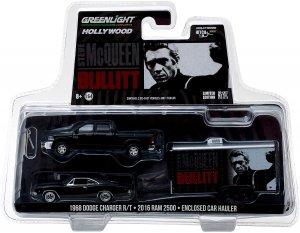 Greenlight Steve McQueen Bullitt 2017 Dodge Ram mit Hänger und Dodge Charger 1:64