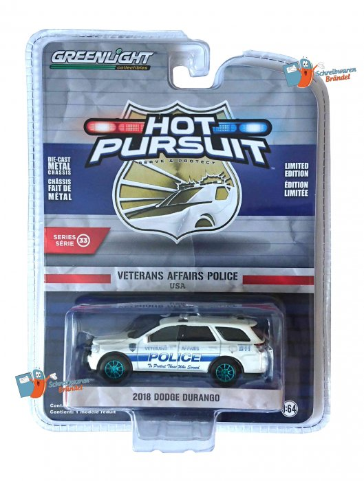 Greenlight Hot Pursuit Serie 33 2018 Dodge Durango 1:64 - GREEN MACHINE
