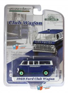 Ford 1969 Club Wagon City Police Greenlight 1:64 Green Machine