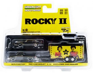 Greenlight Hitch and Tow 1981 Chevrolet C-10 Custom Deluxe with Rockys 1979 Pontiac Firebird Trans Am 1:64